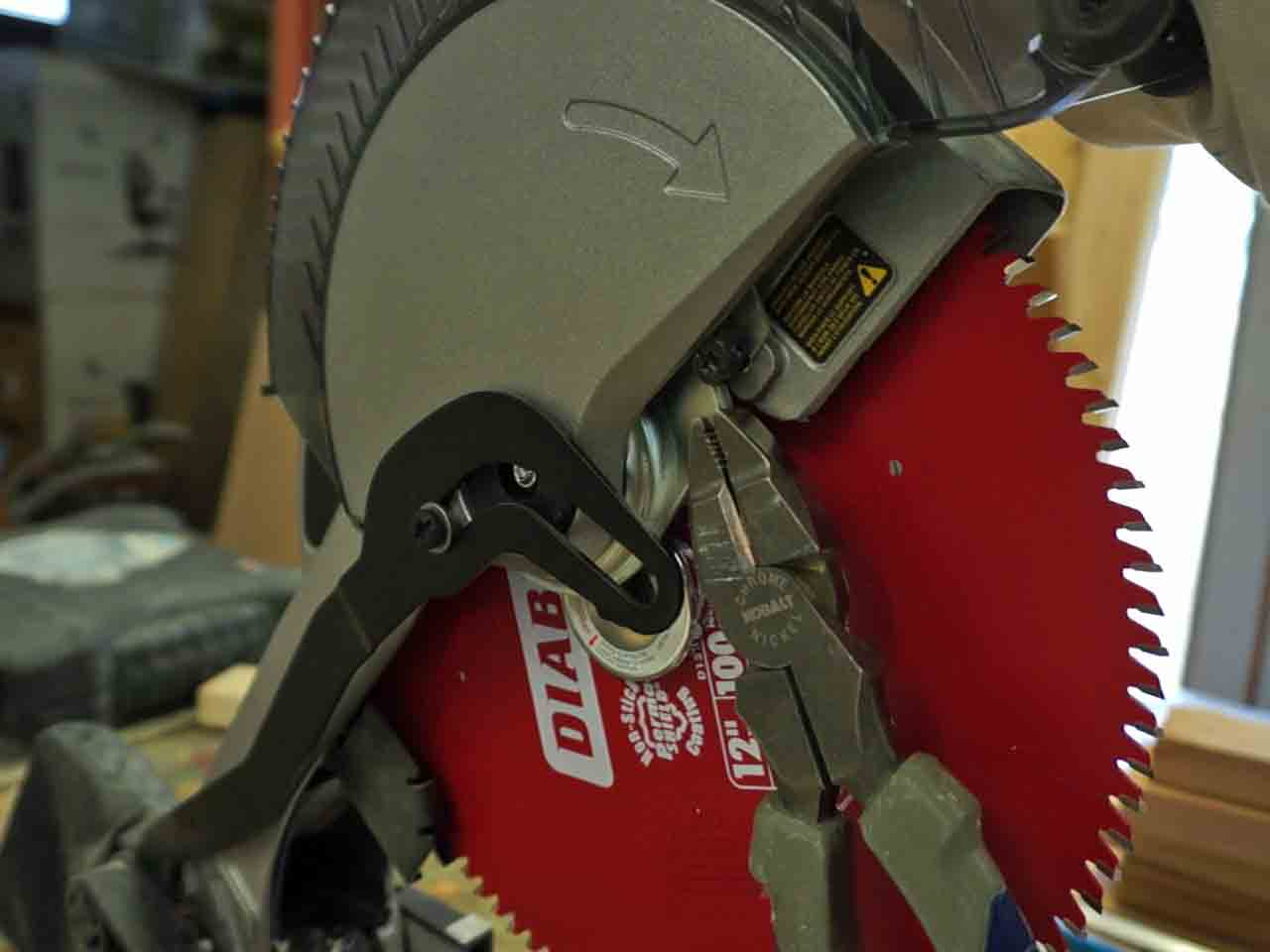 Miter saw upgrade with a new blade and laser granworks pulling down lower blade guard greentooth Gallery