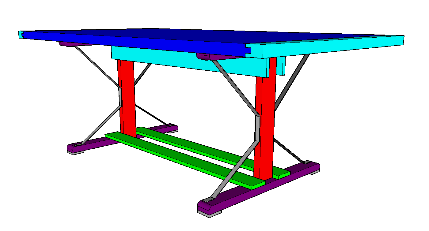 Distressed Trestle Table Model